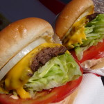 Picture of a fast food cheeseburger.