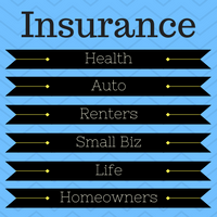 "Image with the title ""Insurance for felons"" and signs with the words ""health, Auto, renters, small biz, life and homeowners."""
