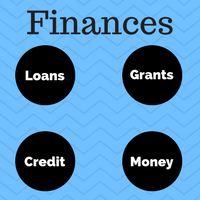 Image with the caption Finances for felons, loans, grants, money and credit.