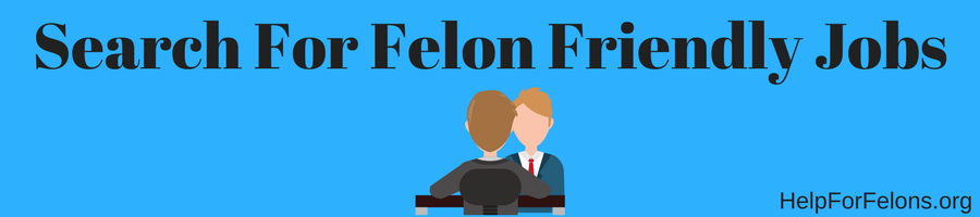 "Image of a person in a job interview with the caption ""search for felon friendly jobs."""
