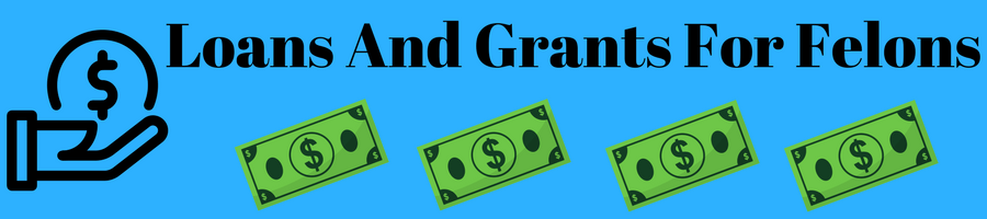 "Image of hand holding money and the caption ""loans and grants for felons."""