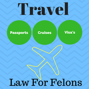 "Image of an airplane with the caption ""Travel law for felons, passports, visas and cruise ships."""