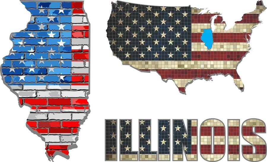 Picture of the state Illinois depicting jobs for felons.