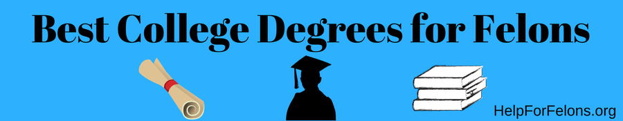 "Image of a college degree scroll, a person wearing a graduation cap and gowned with college books. The caption reads "" Best College Degrees for Felons."""