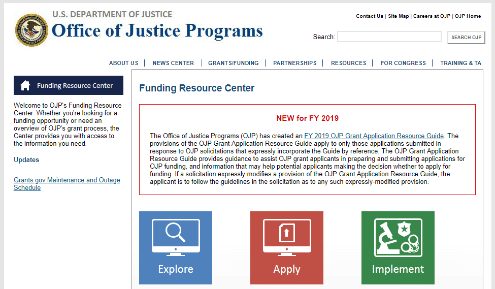 An image of grants available from the DOJ.