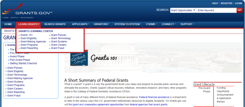 Image screen shot of grants.gov detailing where to learn about grants.