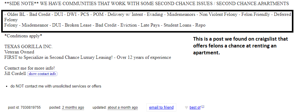 An image of a felon friendly apartment ad from Craigslist.