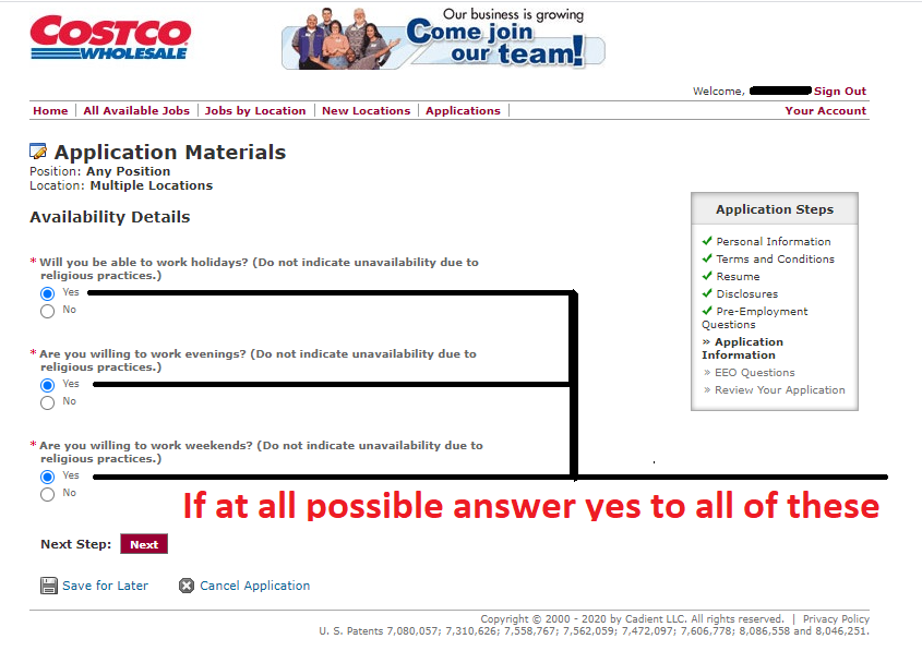 Image of the Costco applications regarding availability.