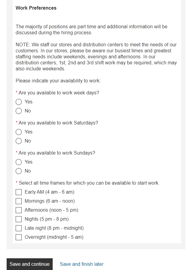 Image of the home depot application questions about availability.