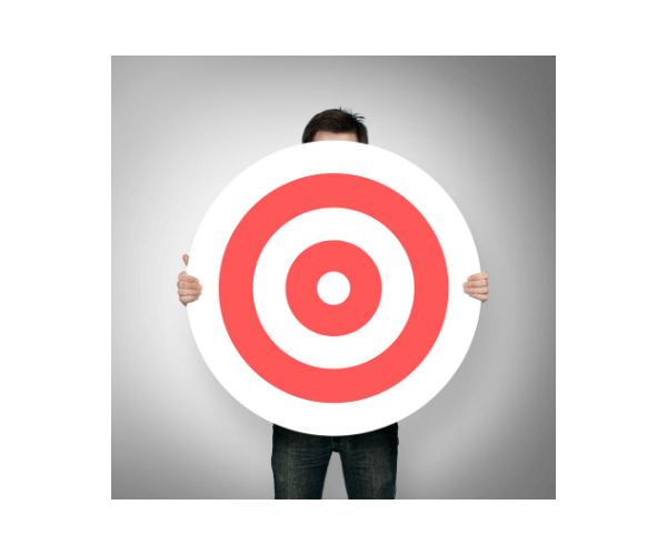 Image of a man holding the Target Logo.